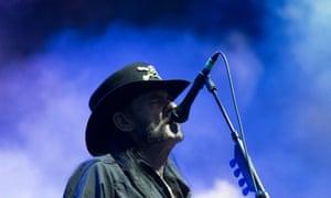 Lemmy on stage in Interlaken, Switzerland, during Motorhead's final European tour.