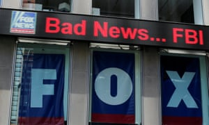 The Fox News electronic ticker is seen at the News Corporation building in New York, 2018