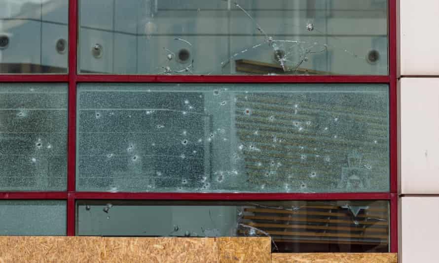 Broken windows on Bridewell police station