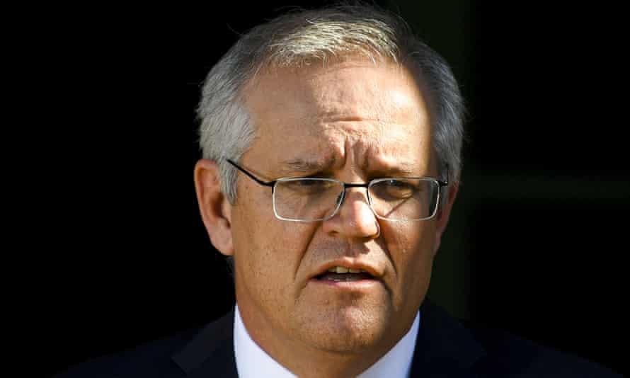 Australian prime minister Scott Morrison addresses the media