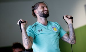 Aston Villa's Henri Lansbury gets ready for the new season a the club's training camp at Guetersloh, Germany