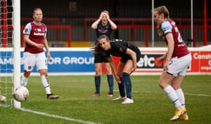 Caroline Weir and Ellen White react after a missed chance.