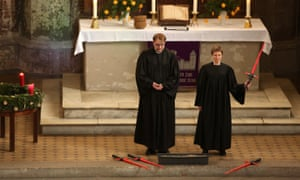 Vicars Lucas Ludewig and Ulrike Garve holding the church service centred on Star Wars. The theme for their sermons featured excerpts from Return of the Jedi.