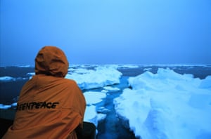 Heavy ice floes, taken from on-board the Greenpeace ship the Arctic Sunrise
