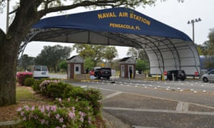 The main gate at the naval air station in Pensacola, Florida.