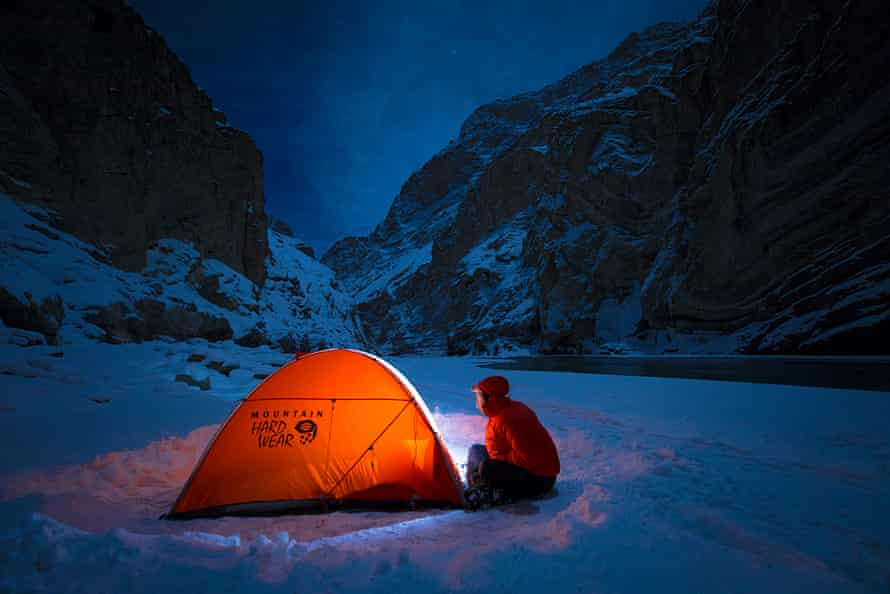 Ice camping the by Zanskar river.