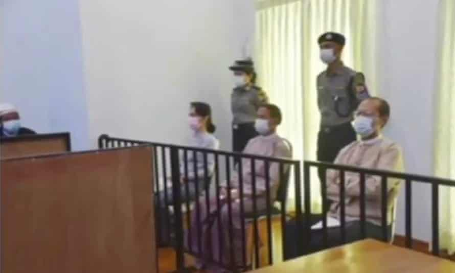 Deposed Myanmar leader Aung San Suu Kyi appeared publicly in court on Monday.