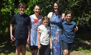 Katrina Miles with her four children. The five were among seven people found dead in Australia's worst mass shooting since the Port Arthur massacre.