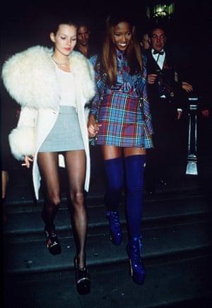 Models Kate Moss and Naomi Campbell at the British Designer of the Year Awards, October 1993.
