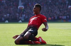 Marcus Rashford celebrates scoring the opener for Manchester United, hel[ping his team beat Watford 2-1 at Old Trafford.