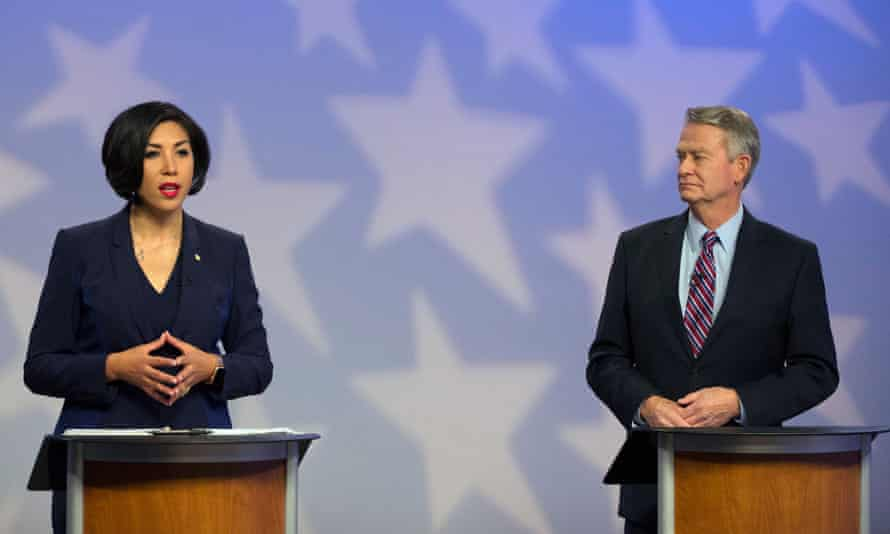 Jordan's Republican opponent, Brad Little, told a debate crowd: 'I'm the one with the skills. I'm the one with the experience.'