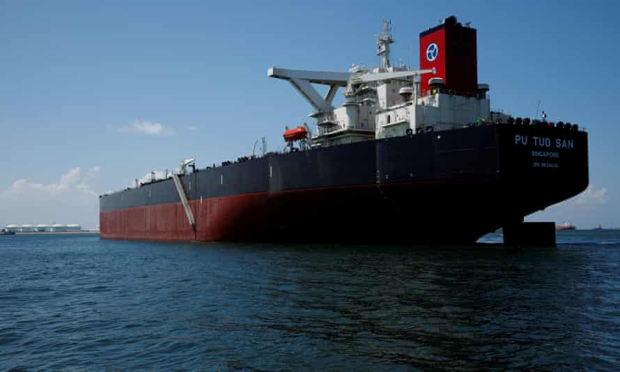 A supertanker off Jurong Island in Singapore