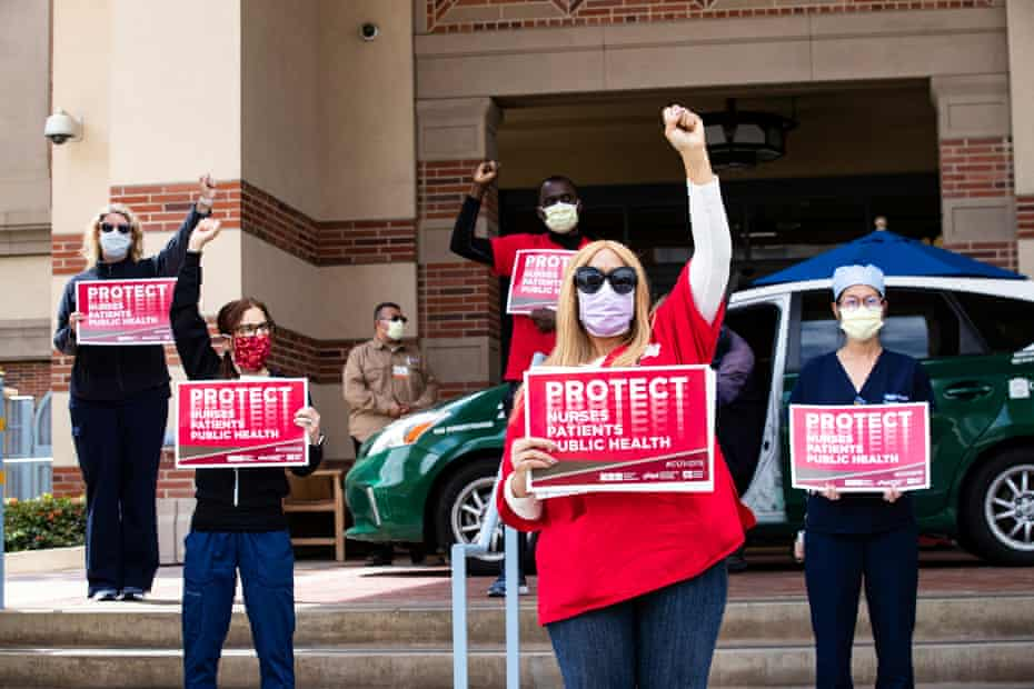 Nurses protest against the lack of equipment in front of the UCLA medical center in Santa Monica on 13 April.