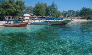 Boats moored at Gili Air, off Lombok, Indonesia