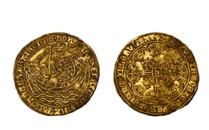 A medieval gold noble of Henry VI, showing the King in armour holding a sword and shield, standing on a ship with a flag at the stern. The shield is quartered with the arms of England and France. The coin was struck around 1422 -27, probably at the mint in Calais
