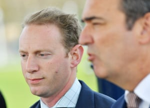 South Australian premier Steven Marshall (right) and water and environment minister David Speirs.