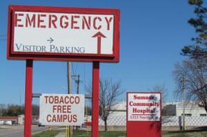 Sumner Community hospital in Wellington, Kansas, stands closed.