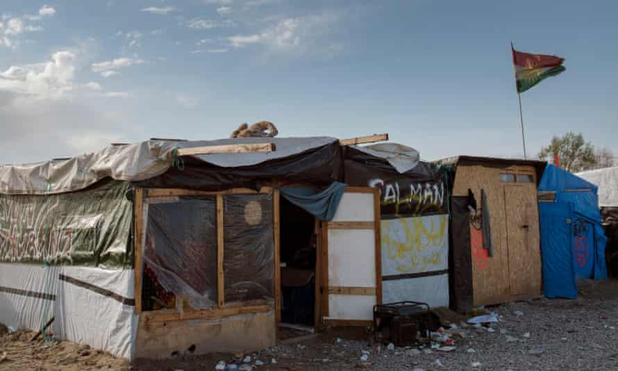 Makeshift shelters at the Calais refugee camp