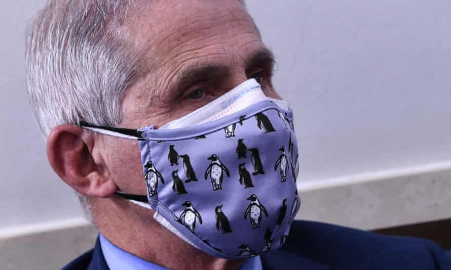 Anthony Fauci wearing two masks in November.
