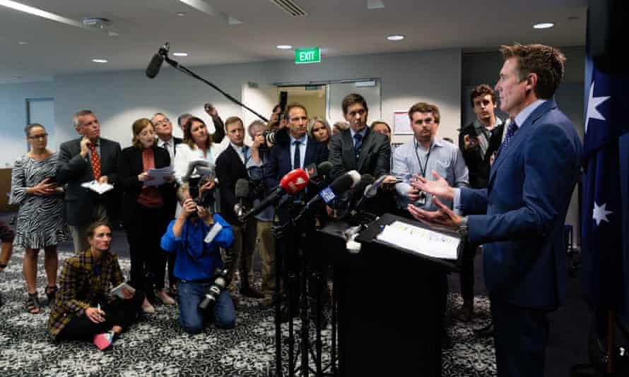 Australia's attorney general Christian Porter addresses media in Perth to deny a historical rape allegation