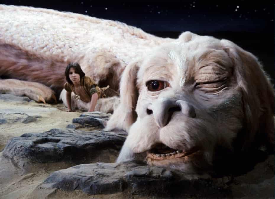Noah Hathaway as Atreyu with Falkor in Wolfgang Petersen's The NeverEnding Story.