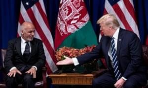 Trump with Ashraf Ghani, the Afghan president, at the UN last week.