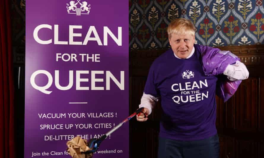 Boris Johnson promoting the Clean for the Queen campaign