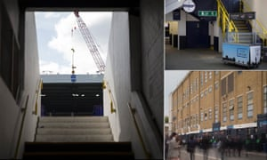View up a gangway leading to the lower East Stand, left, a pie stall in the East Stand and home fans in the street outside the East Stand.