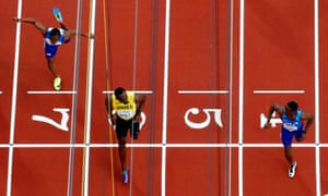 Christian Coleman wins the race ahead of Usain Bolt.