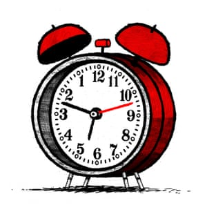 Illustration by David Foldvari of a backwards alarm clock