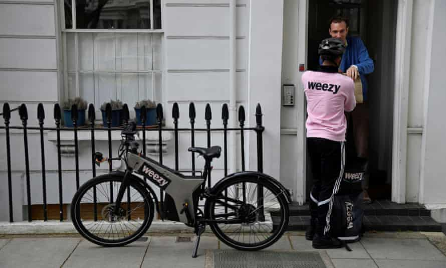 Groceries processed and delivered by online supermarket Weezy in London.