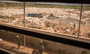 Plastic bag waste outside factory