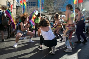 A group of girls go wild for songs by Lady Gaga and other gay anthems