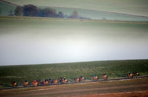 Race horses are exercised in Lambourn, UK