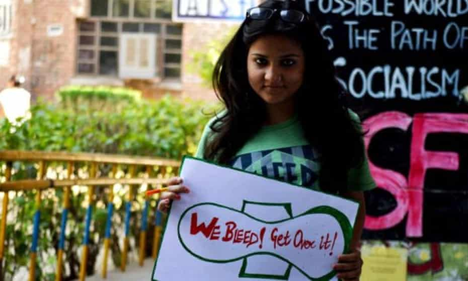 A woman in New Delhi supports the Happy to Bleed campaign
