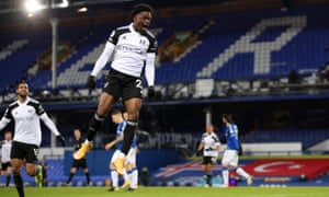 Josh Maja of Fulham celebrates scoring.