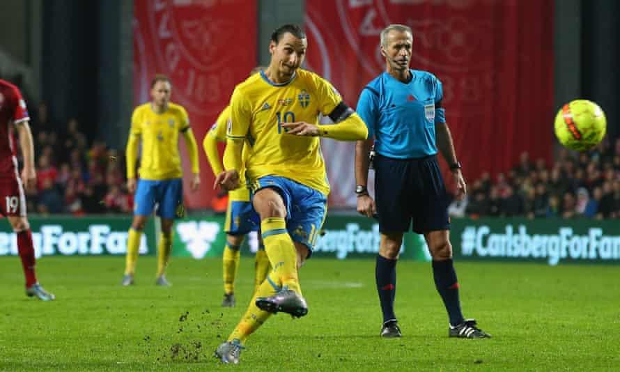 Zlatan Ibrahimovic fires home a free-kick for Sweden's second goal against Denmark.