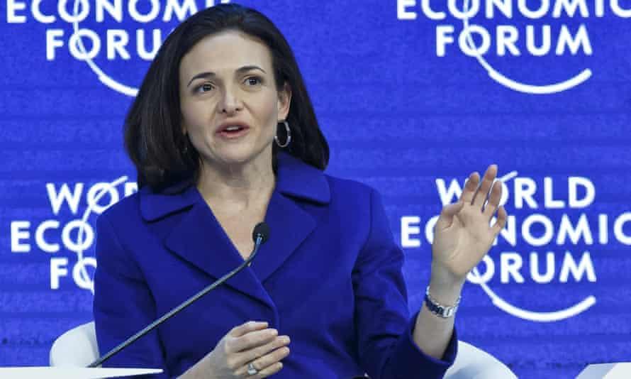 Sheryl Sandberg speaks at the World Economic Forum in Davos, Switzerland.