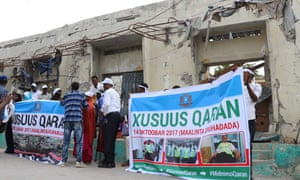 Somali people gathered in Mogadishu to commemorate the first anniversary of the bombing.