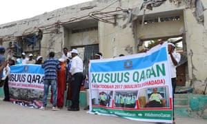Somalian mourners at Soobe junction, now named 14 October Junction, in Mogadishu, 14 October.