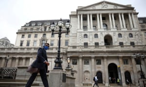 The Bank of England in the City of London financial district, in London
