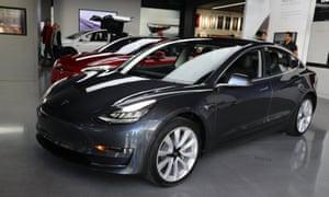 Tesla Model 3 in a showroom