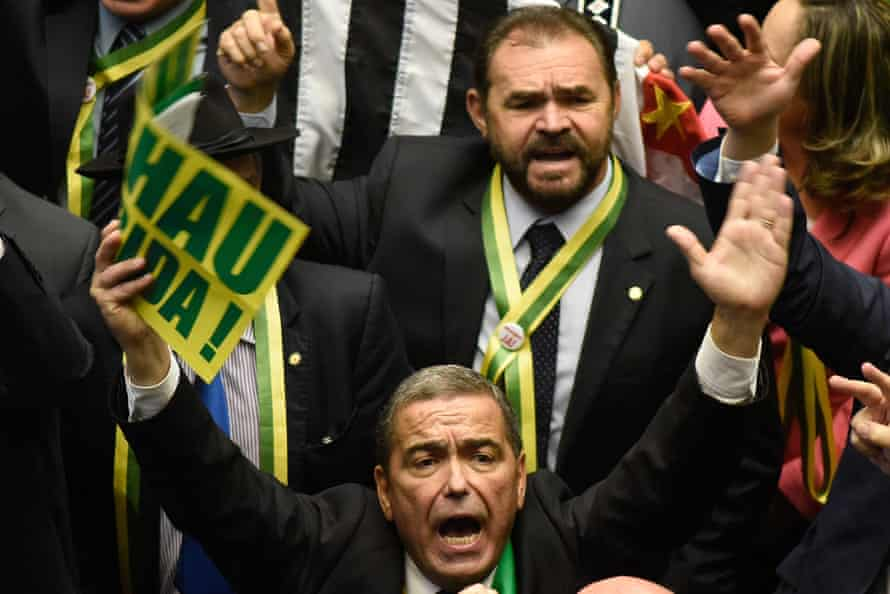 Deputies vote in favour of the move to impeach president Dilma Rousseff.