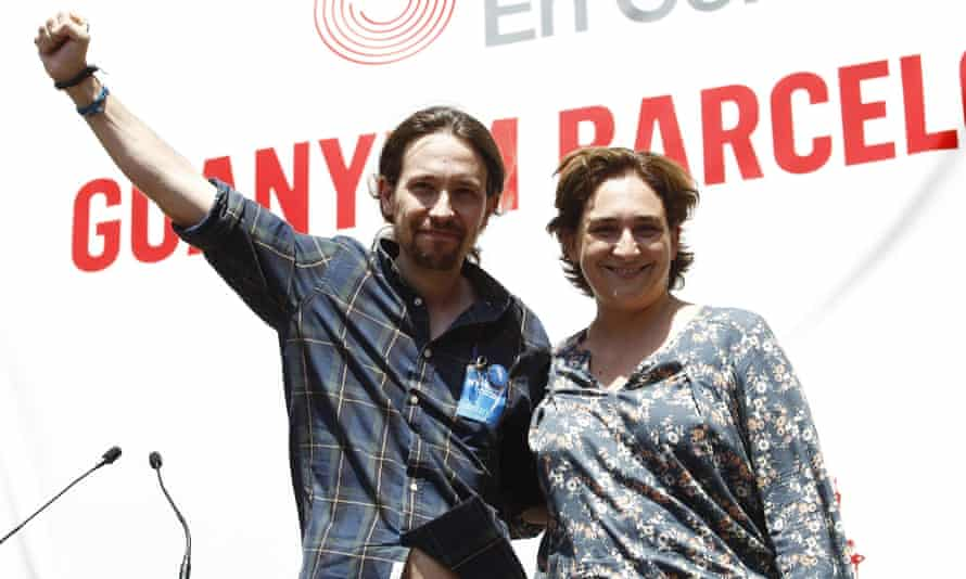 Mayor of Barcelona Ada Colau and Pablo Iglesias of Podemos.