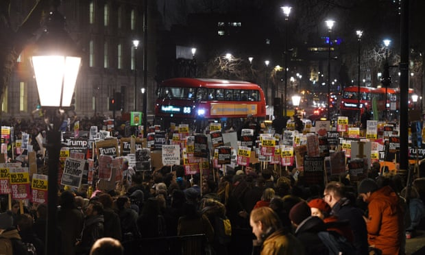 A sea of banners during a demonstration outside 10 Downing Street in London.