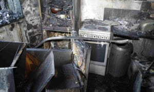 The fire damage to Behailu Kebede's kitchen in flat 16, Grenfell Tower.