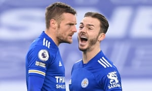 Leicester City's Jamie Vardy (left) celebrates scoring their second goal with James Maddison.