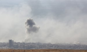 Smoke billowed in the town of Douma on Saturday.