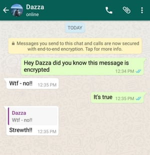 An example of an end-to-end encrypted conversation in WhatsApp
