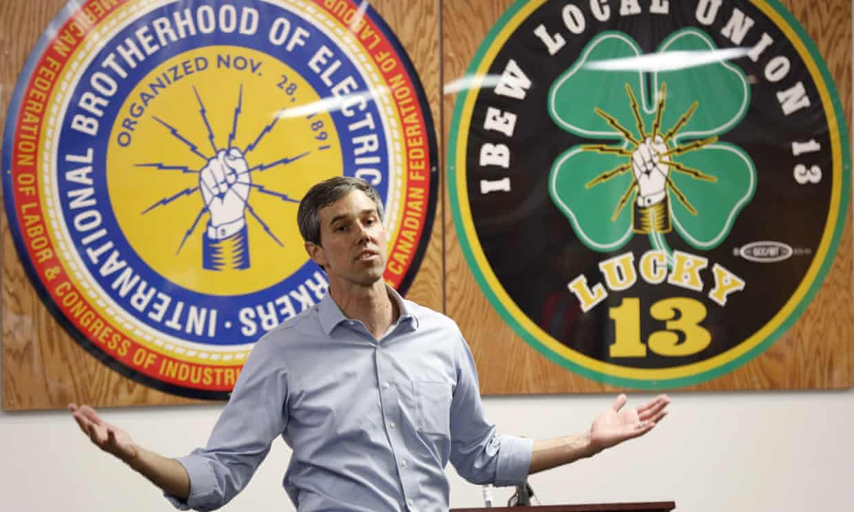 Beto O'Rourke, who received $476,000 from oil and gas sources in 2017-18, comes from a state that leads the country in both global warming pollution and renewable energy.